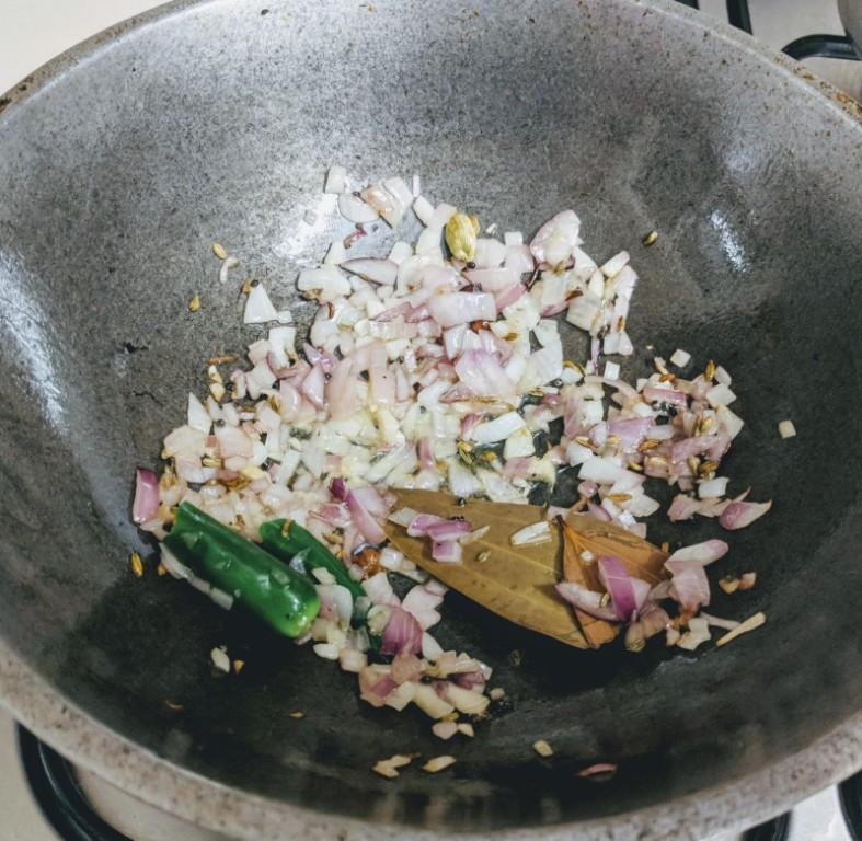 Mushroom masala - onions sauteed